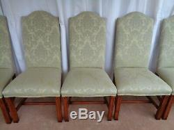 10 Upholstered High Back Dining Chairs In Pale Green Damask Mahogany Oak Walnut