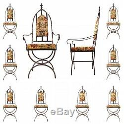 10x Gothic Upholstered Dining Chairs inc 2x Carvers & 8x Chairs