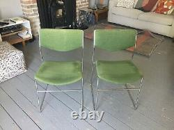 1970s mid century chrome upholstered dining chairs, set of 4