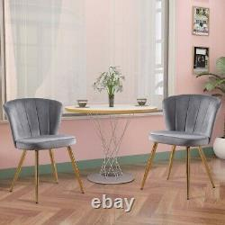 1/2Pcs Velvet Dining Chairs Fabric Oyster Armchair Metal Legs Home Office Chair
