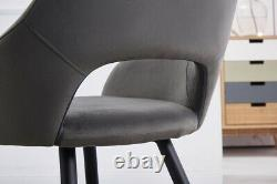 1/2X Dining Chairs Velvet Upholstered Seat Armchairs WithMetal Legs Home Kitchen