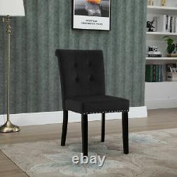 1/2/4 Velvet Dining Chairs Upholstered Chair Button High Back Kitchen restaurant