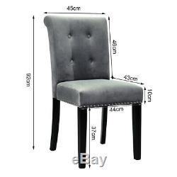 1/2/4 Velvet Studded Dining Chairs with Knocker Upholstered Wooden Legs Kitchen