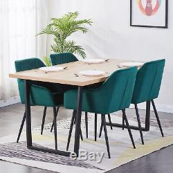 1/2/4x Velvet Armchair Dining Chairs Upholstered Soft Seat Metal Legs Kitchen UK