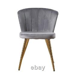 1/2 Pcs Velvet Dining Chairs Fabric Oyster Metal Legs Living Room Chairs Kitchen