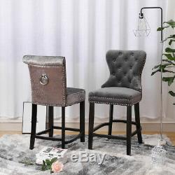 1/2x Upholstered Bar Stool Button Chrome Ring Knocker Quilted Back Chair Kitchen