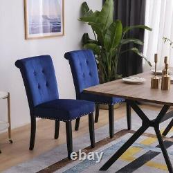 1/2x Velvet Dining Chair with Knocker/Ring Back Kitchen Chairs Upholstered Seat