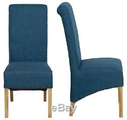 1 Pair Upholstered Blue Fabric Dining Chairs Kitchen Set of 2 WOODEN LEGS