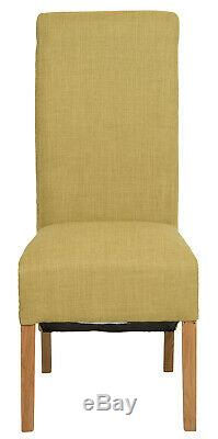 1 Pair Upholstered LIME GREEN Fabric Dining Chairs Set of 2 WOODEN LEGS