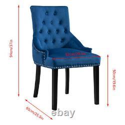 1× Velvet Dining Chair Padded Seat with Chrome Knocker Rivet Buttoned Home Blue