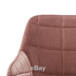 2PCS Pink Occasional Dining Chairs Velvet Armchairs Upholstered Lounge Office