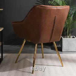 2PCS Retro Dining Chairs Distressed PU Leather Upholstered Seat With Metal Legs