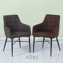 2PCS Upholstered Faux Leather Dining Chairs Accent Chair Tub Chair Lounge Office