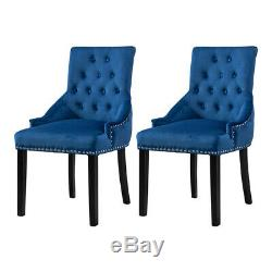 2Pcs Blue Dining Chairs Upholstered Wood Legs Dining Room Furniture Modern New