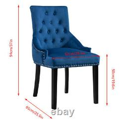 2Pcs Dining Chair Button Tufted Velvet Chairs with Knocker Accent Chairs Blue UK