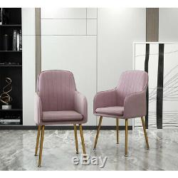 2Pcs Modern Velvet Soft Dining Chairs Upholstered Occasional Armchair Sofa Chair
