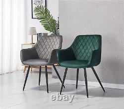 2X Dining Chairs Velvet Armchairs Upholstered Seat Metal Legs kitchen furniture
