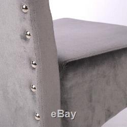 2X Grey Velvet Fabric Dining Chairs Studded Knocker High Back Upholstered Seat