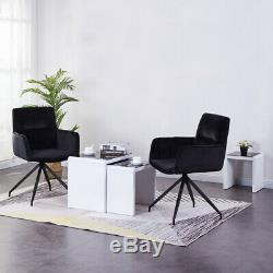2X Upholstered Fabric Velvet Arm chair Swivel Dining Chairs Black Bedroom Office