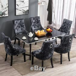 2X Upholstered Wing Button Crushed Velvet Dining Chairs Knocker Rivet Stud Chair