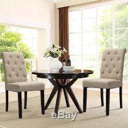 2/4Pcs High Back Dinning Chairs Fabric Upholstered Chair for Home & Restaurant