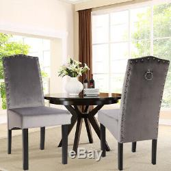 2/4Pcs Velvet Dinning Chairs Living Room Upholstered Guest Chairs withRing Knocker