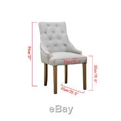2/4/6PCs Dining Accent Chair Curved Button Tufted Fabric Upholstered Scoop