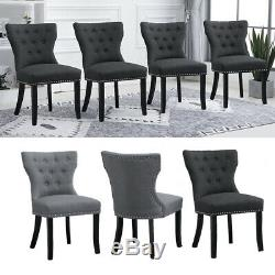 2/4/6Pcs Dining Chairs Wing Back Upholstered Fabric Wood Legs Dining Room Gray
