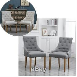 2/4/6Pcs Gray Curved Button Tufted Dining Chair Fabric Upholstered Accent Lounge