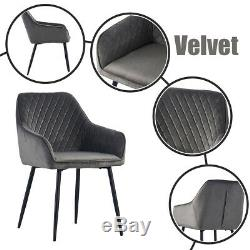 2/4/6X Dining Chairs Armchairs with Armrest & Backrest Upholstered Seat Kitchen
