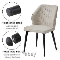 2/4/6X Retro Brown/ Grey Dining Chairs Faux Leather Kitchen Dining Room Metal UK