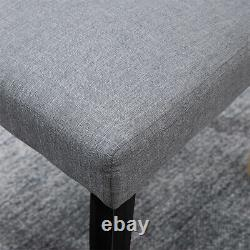 2/4/6 Gray Button Tufted High Back Dining Chairs Fabric Dining Room Kitchen Home