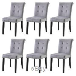 2 4 6 Grey Dining Chair Velvet Kitchen Upholstered Chair Wooden High Back Chair