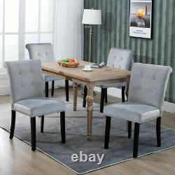 2/4/6 Grey Dining Chair Velvet Rivet High Back Chairs Kitchen Chair With Knocker