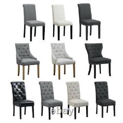 2/4/6 Pcs Dining Chairs Fabric Padded Seat Wooden Legs Dining Room Kitchen Grey