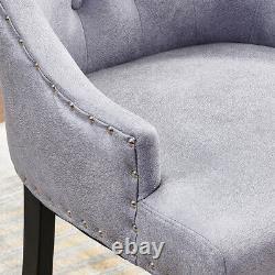 2/4/6 Pcs Velvet Dining Chair Padded Seat with Chrome Knocker Rivet Buttoned UK