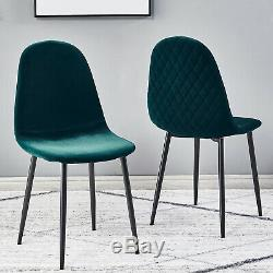 2 4 6 Velvet Fabric Upholstered Dining Chairs Retro Accent Diamond Metal Legs