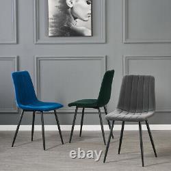 2/4/6 Velvet Upholstered Dining Chairs MODERN Stripe Black Metal Legs Kitchen