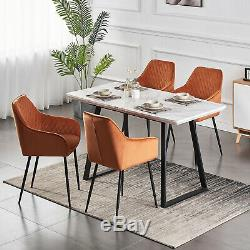 2/4/6pcs Dining Chairs Armchair Upholstered Soft Seat Sturdy Metal Legs Gray NEW
