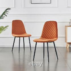 2/4/6x Dining Chairs Velvet Upholstered Soft Seat Metal Legs Living Room Kitchen