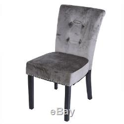 2/4/6x Gray Dining Chairs Armchair High Back Upholstered Fabric Wood Leg Velvet