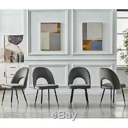 2/4/6x Velvet Dining Chairs Fabric Upholstered Seat Kitchen Chair Metal Leg Room
