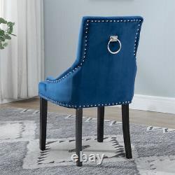 2/4/6x Velvet Dining Chairs Ring Knocker Rivet Side Chairs Black Grey Plnk Beige