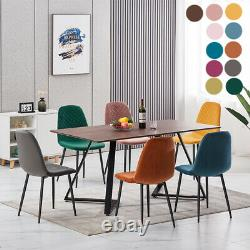 2 4 Dining Chairs Velvet Padded Seat Metal Legs Kitchen Lounge Restaurant Home