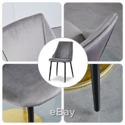 2/4 Lint Fabric Dining Chairs Set Padded Metal Legs Upholstered Reception Chair