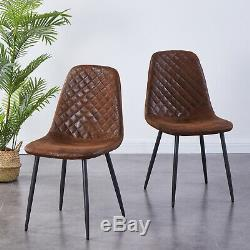 2/4 Retro Dining Chairs Suede Fabric Upholstered Seat Metal Leg Kitchen Home