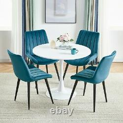 2/4 Soft Velvet Fabric Dining Chairs Upholstered Slope Accent Chair Kitchen Home