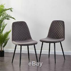 2/4 Velvet Dining Chair Grey Fabric Upholstered Seat Black Leg Dressing Kitchen