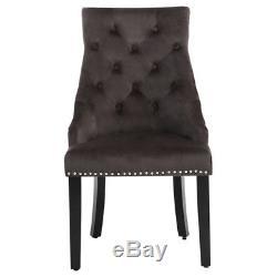 2/4 X Velvet Dark Grey Dining Chair Stud Edge Upholstered Seat For Dining Room