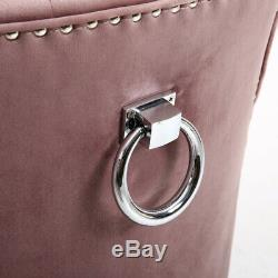 2/4 x Upholstered Dining Chair Velvet with Nailhead Ring Knocker Oyster Kitchen